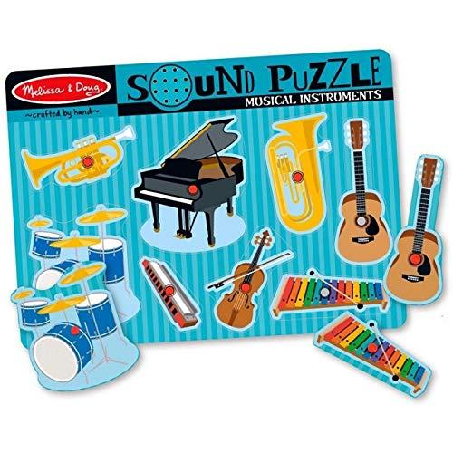 Melissa & Doug Puzzle SONORE en Bois avec Sons des Instruments DE Musique 8 pièces 30 cm Jouet éducatif