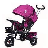 DBSCD Tricycles pour Enfants, Tricycle pour bébé Pliant, vélo extérieur à 3 Roues pour Enfants de 1 à 6 Ans, siège pivotant, poignée de réglage (Couleur: Violet)