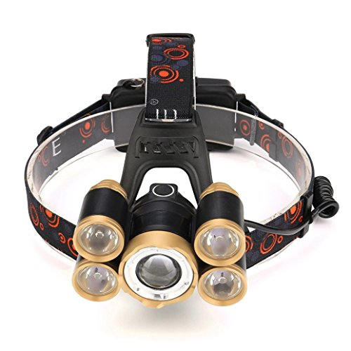 Angelof Lampe Frontale Zoomable Headlight Militaire Lampe Frontale Puissante Avec 5 ELD Horticole Jogging Lampe Rechargeable 35000 Lumens
