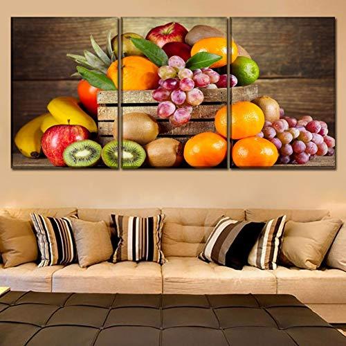 YXBNB 3 Cuadros consecutivos Cuadros de Lienzo Cocina y Restaurante Decoración de Arte de Pared 3 Piezas Alimentos Pinturas de Frutas para póster de Arte Moderno de impresión HD 30X50X3 Sin Marco