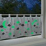 Delindo Lifestyle® fluoreszierende Scheibengardine DREAM, Gardine für Kinder, 45x120 cm, moderne blickdichte Bistrogardine für das Kinderzimmer