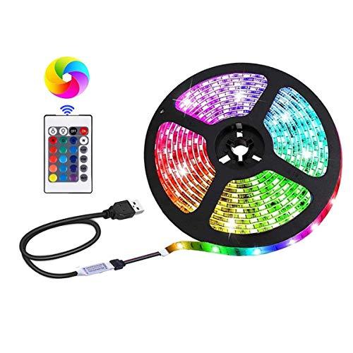 Tira de luces LED alimentadas por USB, SMD 5050RGB, cambio de color con mando a distancia de 24 teclas, retroiluminación de televisión para decoración de interiores (9,5 cm).
