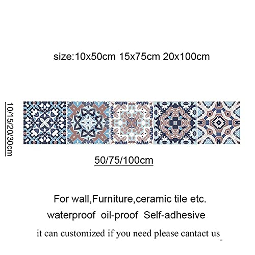 Leileixiao Pegatinas de Azulejos Retro árabe para la Cocina Baño PVC Autoadhesivo Etiqueta de la Pared Sala de Estar DIY Decoración Wallpaper Impermeable (Color : 2034 10, Size : 10x50cm)