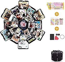 EKKONG Kreative Überraschung Box Explosions-Box DIY Faltendes Fotoalbum,Geschenkbox mit 6 Gesichtern,Geburtstag Jahrestag Valentine Hochzeit Geschenk, für Hochzeit, Muttertag, DIY Geschenk