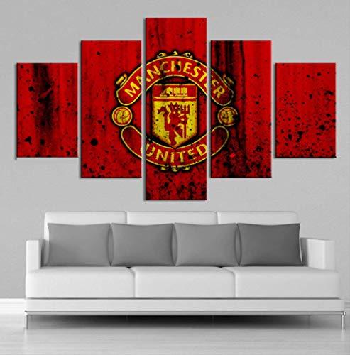TytlPrints Creatieve 5 stuks Manchester United Flag Sport Muurposter Voetbal Canvas Schilderij Kunstdruk Afbeeldingen Jongens Slaapkamer Decor Size 4 No Frame