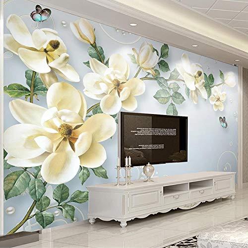 asfdgkwejd Fotomural gigante 300x210CM Mariposa flor hoja verde planta Pelar y pegar papel tapiz mural foto niños dormitorio hogar cartel decoración XXL