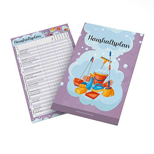 Haushaltsplan A4 | Familienwochenplan & Haushaltsorganizer im praktischen DIN A4 Format als Putzkalender/Putzplan für Familie Kinder/WG - 25 Blatt
