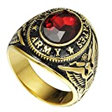 Jude Jewelers Size 7-15 Stainless Steel Military Ring United States Army Gold Plated Red Stone (7)