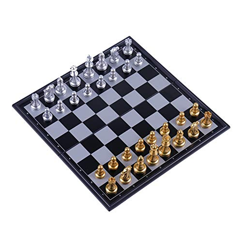 JDJD Conjunto De Ajedrez con Tablero De Ajedrez 32 Piezas De Ajedrez De Plata De Oro. Juego de ajedrez magnético