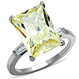 Yourjewellerybox - Anillo con detalle de diamante falso - para mujer - acero inoxidable, talla 16,5 (18 mm)