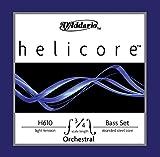 Juego de cuerdas Helicore para contrabajo, serie de orquesta de D'Addario, escala 3/4, tensión blanda.