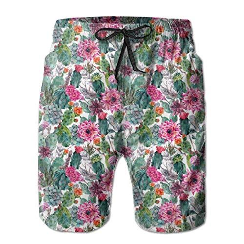 EU Bañador para Hombre Lotes de Coloridas Flores Shorts de Playa de Secado rápido con cordón y Bolsillos XXL