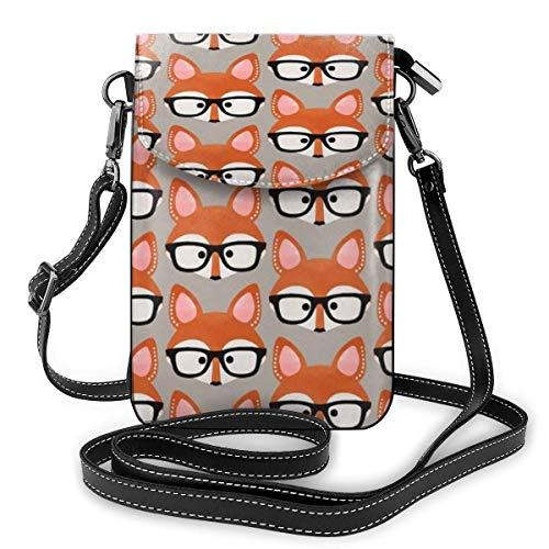 Crossbody Handy Geldbörse Fox Tragen Brille Frauen PU Leder Mehrfarbige Handtasche mit verstellbarem Riemen