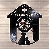 BFMBCHDJ Veterinario Cane da Compagnia Cat Orologio da Parete in Vinile Classico Design Moderno Animali vivi Servizi Sanitari Orologio da Parete Orologio Silenzioso Decorativo