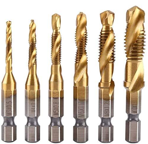 ドリルビット 六角軸 面取りタップ HSS 高速度鋼タップドリルセット M3-M10 チタンコーティング 穴あけ ねじ切り タップ スパイラル 6本セット (チタン-ゴールド)