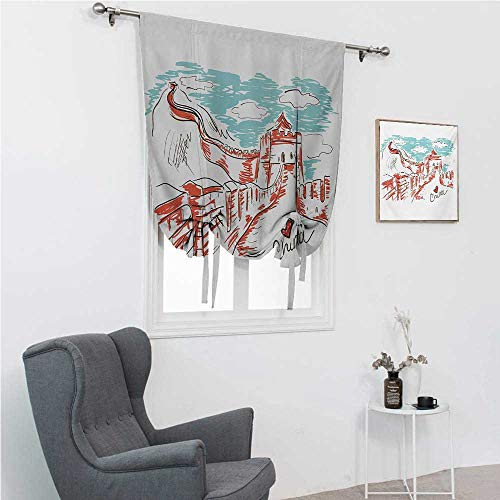 GugeABC Roman Blind Great Wall of China Window Shades for Home Oriental Colorful Tourist Hand Drawn Chinese Travel Art with a Heart 39' Wide by 64' Long Aqua Ruby