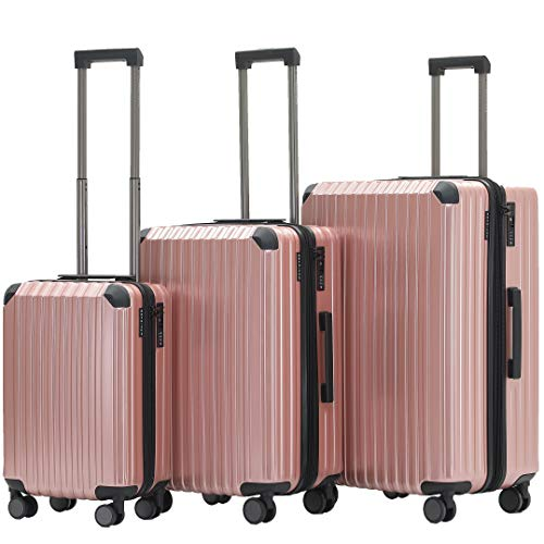 Münicase Münicase M816 TSA-Schloß Koffer Reisekoffer Trolley Kofferset Hardschale Boardcase Handgepäck (Rosagold, 3tlg. Kofferset)