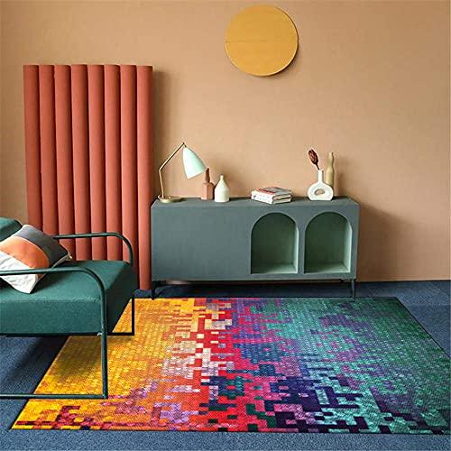 Color de $ Alfombras De Pelo Corto Classic Pretty Resumen Geométricamente Cambiado Geométricamente Seguridad de los niños Salón de la Sala de Estar Salón Home Alfombra-Color de $_80x160cm alf80x160CM