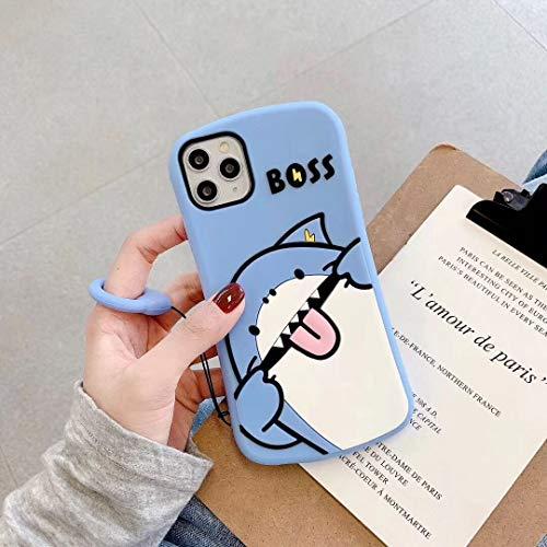 SevenPanda für iPhone 12 Hülle Hai, 3D Cartoon Kawaii BOSS mit Niedlichen Gleiches Ringband Silikon Kasten Abdeckung für iPhone 12 Pro 6.1 Zoll - Blau
