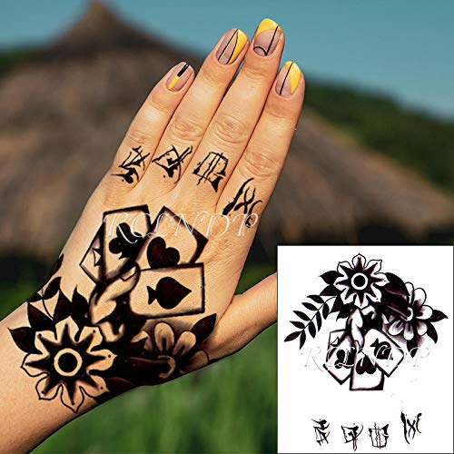 tzxdbh 3PCs-Monochrome Mode männliche Körperkunst Erwachsenen wasserdicht Tattoo Aufkleber Blume Spielkarte Tattoo Tattoo Tattoo Hand
