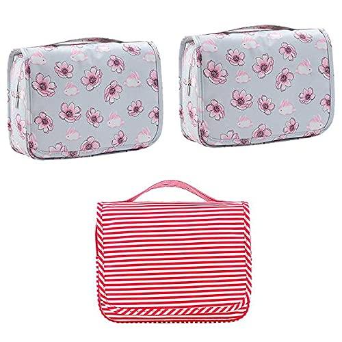 Parshall Bolsa organizadora de artículos de aseo coreanos impermeable para colgar cosméticos portátil plegable bolsa de almacenamiento para natación gimnasio, 3 unidades, Red+grey*2,