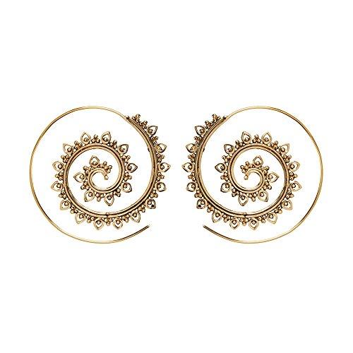 81stgeneration 40 mm Aretes Pendientes Tribales Ornamentados Indios Espirales Mujer Latón Dorado