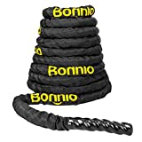 Bonnlo Battle Exercise Training Rope with Protective Cover, 1.5'/2' Width Poly Dacron 30/40/50ft...