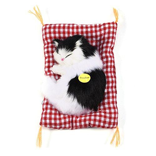 Zerodis Simulation Schlafende Kätzchen Spielzeug mit Weicher Matte Plüschtiere Geschenk Dekoration(Schwarz/Weiß)