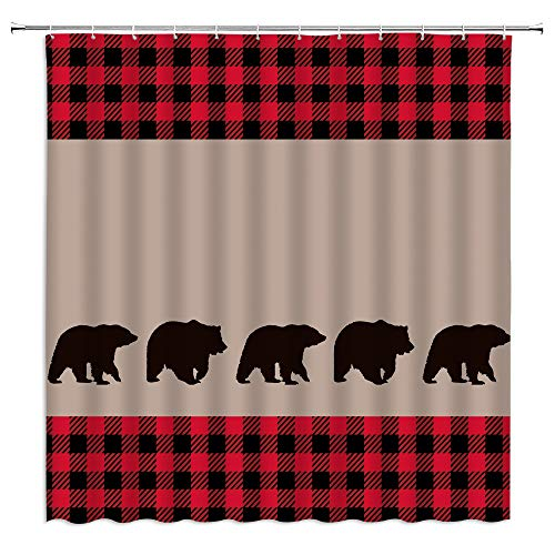 Black Bear Plaid Shower Curtain Woodland Camping Cabin Wildlife Bear Silhouettes Red Black Buffalo Check Vintage Farm Rustic Fabric Bathroom Decor Curtain with 12 Hooks,71x71 Inch,Tan