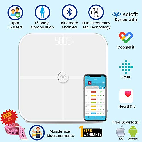 Actofit Body Fat Analyser Smart Scale with Complete Digital Composition Monitor with bluetooth and artificial intelligence measures BMI, BMR, Body fat, Body water, Bone mass, Fat free weight, Protein, Physique rating, Metabolic age