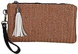 Moda señora monedero borla bolso de paja con cremallera embrague tejido mujer bolso de teléfono móvil verano Bohemia ratán-C