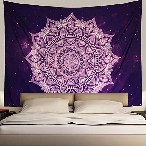 Purple Wall Tapestry Wall Hanging Purple White Tapestry Flower Mandala Bohemian Tapestry Psychedelic Tapestry Galaxy Tapestry Hippie Milky Way Tapestry Sky Tapestry Bedroom Dorm Home Decor