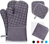 IXO 6Pcs Oven Mitts and Pot Holders, 500℉ Heat Resistant Oven Mitts with Kitchen Towels Soft...