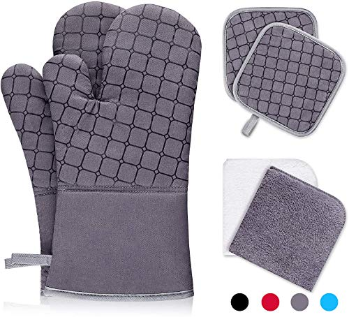 IXO 6Pcs Oven Mitts and Pot Holders, 500℉ Heat Resistant Oven Mitts with Kitchen Towels Soft Cotton Lining and Non-Slip Surface Safe for Baking, Cooking, BBQ