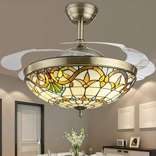 Tiffany Ventilatore da soffitto con luce, Lampadario a soffitto in metallo Lampada...