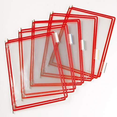 Tarifold Es 114003 – Fundas A4 PVC Recambio Expositor de Pared y Sobremesa, Color Rojo (10 unidades)