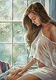 YINGRANSM Pintar por Numeros con Pinceles y Pinturas Adultos Niños Junior DIY Pintura al óleo Lienzo Decoraciones para el hogar Regalo 16 * 20 Pulgadas (Mujer Hermosa, Sin Marco)