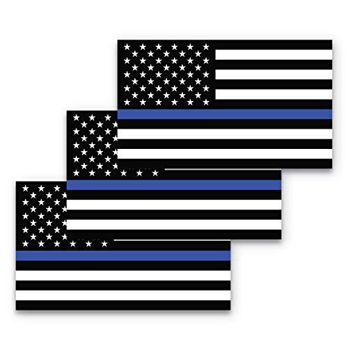 Thin Blue Line Sticker 3 Pack - 3x5 Thin Blue Line Decal Police Decal Thin Blue Line Flag Sticker, Police Lives Matter Sticker, Cop Lives Matter Sticker, Police Sticker, Law Enforcement Sticker Durable Waterproof Materials…