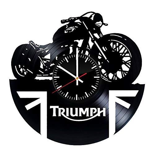 LKCAK Reloj de Vinilo Triumph - Adhesivos de Pared de Bicicleta de Moto Hechos a Mano de Art Decor Vintage Original para Hombres Mujeres Niños Decoración de Dormitorio de Cocina