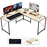 Bestier L-Shaped Computer Desk, 95.2' Two Person Large Gaming Office Desk with Map RGB Mouse Pad,L-Shaped or Long Desk Two Method with Free Monitor Stand, Home Writing Desk Oak