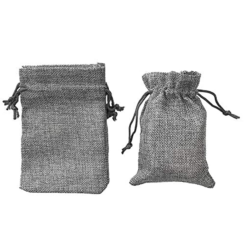 BoomYou 25 Pieces Burlap Bags with Drawstring Natural Rustic Jute Candy Bags Wedding Gift Pouch for Arts, Crafts, Presents, Snacks, Christmas, Thanksgiving - 5.5x3.9 INCH / 14x10 cm - Silver Gray