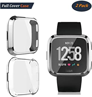 [2-Pack] Compatible with Fitbit Versa Screen Protector, Auibest Full Cover Case Scratch-Resistant Soft Flexible TPU Plated All-Around Protective case Protector (Silver+Clear)