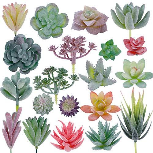 CEWOR 20pcs Artificial Flocked Succulent Mini Premium Fake Succulents Plants for DIY Crafting Home...