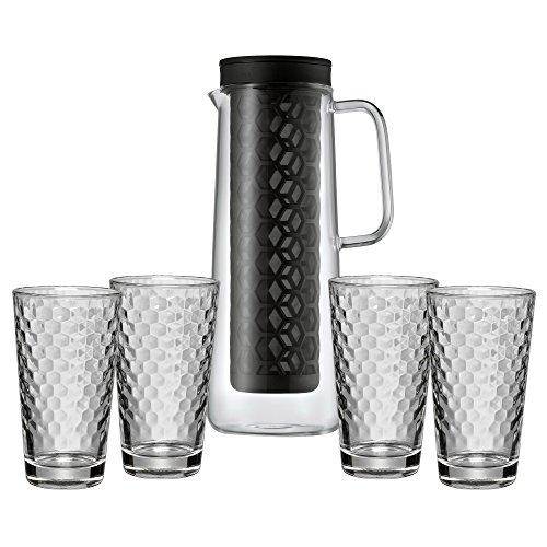 WMF Cold Brew Kanne, mit Honeycomb Gläser, Cold Brew Kaffeezubereiter Set, Glas Waben-Design, hitzebeständig, spülmaschinengeeignet