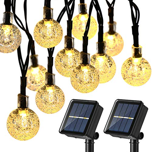 Joomer Solar String Lights Outdoor,Upgraded 2 Pack 30 LED 20ft Crystal Globe Lights with 8 Lighting Modes,Waterproof Solar Powered Patio Lights for Outdoor Garden Yard Porch Party Decor (Warm White)