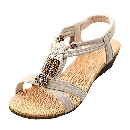 EUZeo Damenschuhe Böhmen Sandalen Wohnungen Strand Schuhe Freizeit Sandalen Flip Flop Sommerschuhe Strandschuhe Krawatte Sandalen Frauen Outdoor