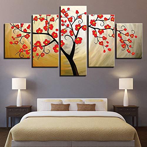GBxebenYN02 5 Stücke Leinwand Malerei Dekoration 200X100CM rote Pflaume Baum Blume Schlafzimmer Firma Büro-Rahmenlos