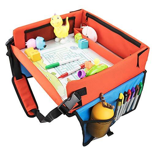 Spencer Mesa de viaje para niños, para coche, accesorio para el asiento del coche, mesa de comedor, bandeja para las rodillas, mesa de viaje, asiento trasero, juguetes de juguete, bandeja, vacaciones