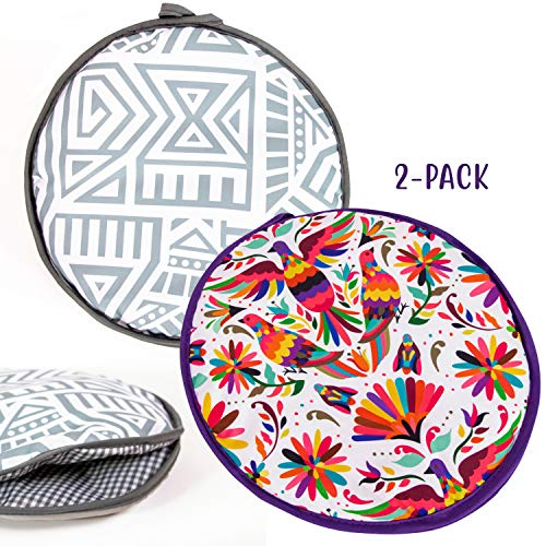 Microwaveable X-Large Tortilla Warmer Pouch 2 Pack - 2 Fun Designs to make taco night special. 12 Inch in Diameter Microwave Corn or Flour Tortillas, Pizza, Naan Bread