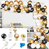 Globos de Oro Globo Arch & Garland Kit Black White Gold Confetti and Metal Latex Globos para el Boda Cumpleaños Graduación Party Decor Decor Latex Balloon Arch Kit & Garland Kit por fengl cuarsss